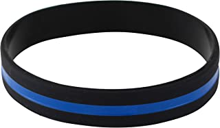 WIZARDPINS Police Officers Patrol Awareness Support Thin Blue Line Silicone Wristband Bracelets Value Pack