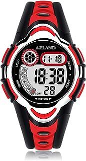 ساعات رقمية LED للسباحة مضادة للماء من AZLAND بنين بنات ولمبات LED للأطفال، حزام مطاطي
