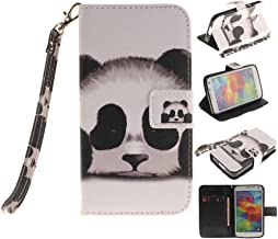 XYX Wallet Case for Galaxy S5,[Panda][Wrist Strap] Premium PU Leather Wallet Case with Card Slots for Samsung Galaxy S5 S V I9600