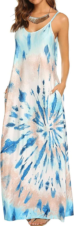 Rpvati Women Casual Tie Dye Print Drawstring Gradient Rendering Sling Long Dress