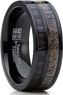 Metal Masters Co. Men's Tungsten Ring Wedding Band Real Deer Antler, Koa Wood Inlay, Outdoor Hunting