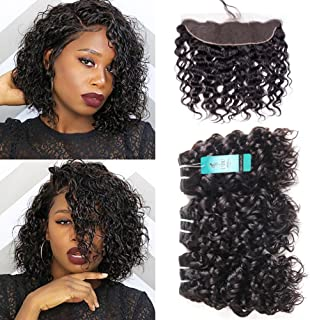Water Wave Bundles with Frontal, UDU 10A Malaysian Human Hair Bundles with Frontal Closure Wet & Wavy Ocean Weave Human Hair Extensions Natural Wave Curly Hair 50g/pc