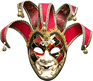 高品質 ベニス ピエロ フルマスク 仮面 ハロウィン マスカレード パーティー 舞台出演 (レッド)