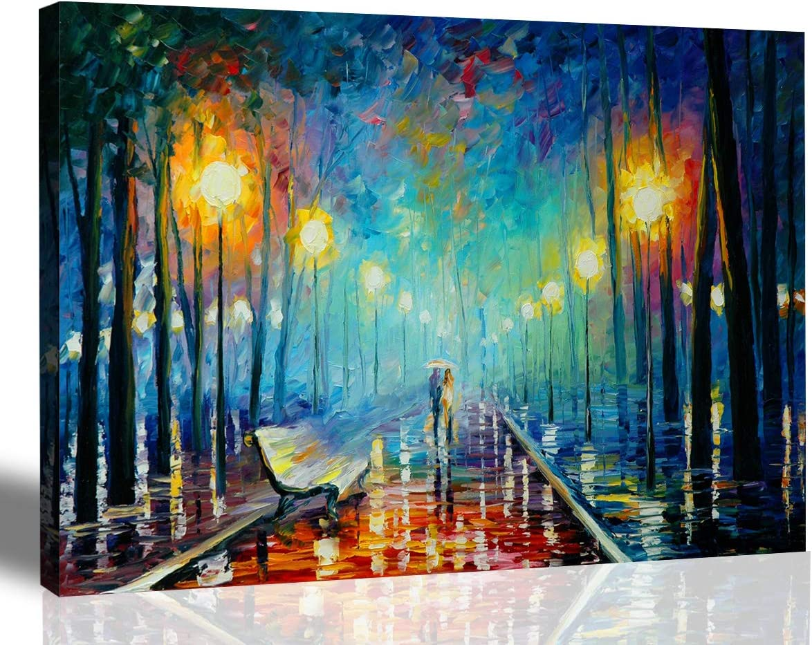 Walking in The Rain Hand-Painted Oil New York Mall Wall on Painting Canvas All items in the store Art