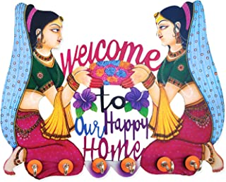 SHIVA ARTS Handpainted Beautifully Handicrafted High Quality UV Printed Welcome to Our Happy Home 6 Hook Key Holder for Ho...
