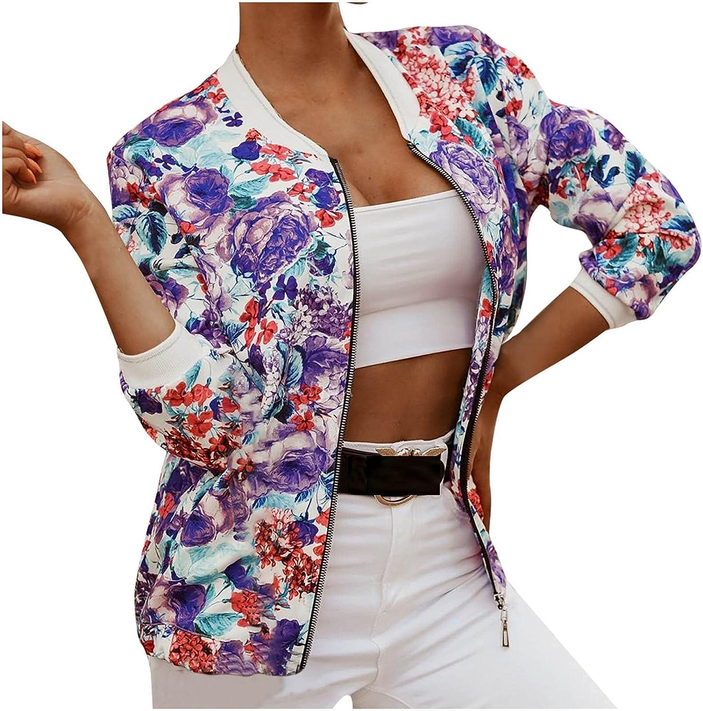 Women Printing Baseball Jacket Crop Bomber Jacket Coat Thin Summer Top Transitioned Coat Zip Standup Collar Outwear