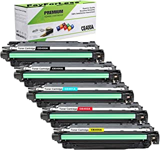 PayForLess 507A CE400A Toner Cartridge 5PK Compatible for HP Colored Printer Laserjet 500 Color M551DN M551 MFP M575DN cp3525n cp3525 cp3525dn for hp 507a