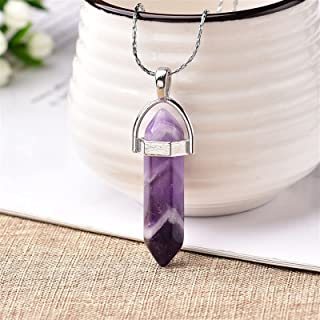 Natural Rough Stones 1PC Natural Crystal Rose Quartz Crystal Point Pendant Mineral Jewelry Couple DIY Lovers Gifts For Men...