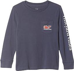 Long Sleeve Football Whale Pocket T-Shirt (Toddler/Little Kids/Big Kids)
