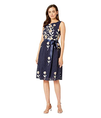 Tahari by ASL Sleeveless Floral Embroidered Lace Fit Flare (Navy Climbing Vine) Women
