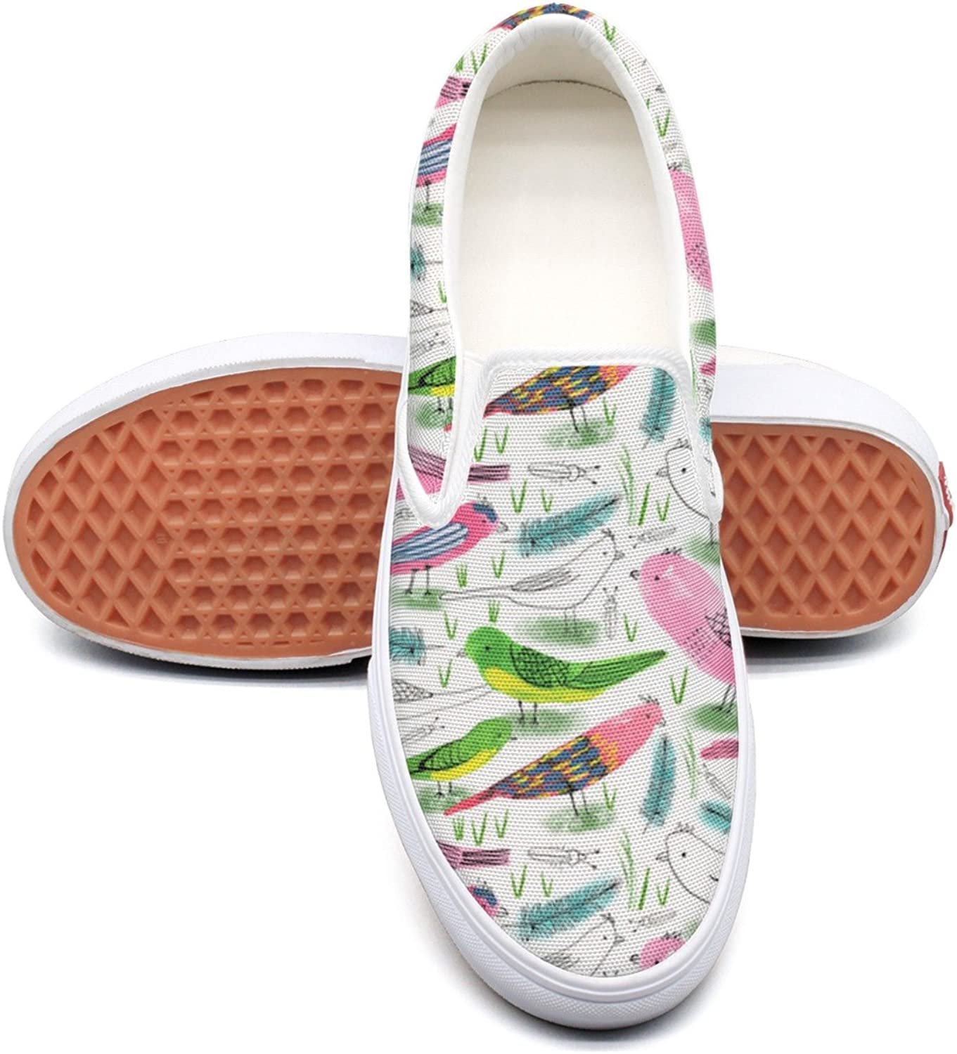 SEERTED Watercolor Gren Abd Pink Birds Feathers Canvas Slip On shoes for Women
