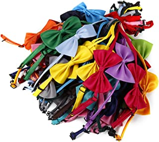 QingZhou Mix Colors Pet Bow Tie,50PCS Cat/Dog Grooming Bowknot Neckties Elastic Tag for Party Soft Adjustable Collar
