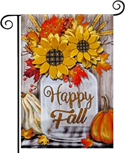 hogardeck Fall Garden Flag Yard Flag Vertical Double Sided Garden Decoration Happy Fall with Pumpkin Applique 3D Sunflowers for Indoor & Outdoor Décor Autumn Thanksgiving Day 12.5 x 18 Inch
