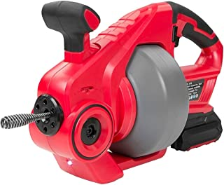 XtremepowerUS 25' Drain Auger 20-Volt MAX Li-Ion, 25Ft Cordless Snake Sink Clog Pipe Cleaner Plumbing Power Tool 3/4