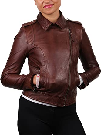 BRANDSLOCK Womens Genuine Sheepskin Leather Biker Slim Fit Jacket Zip Coat