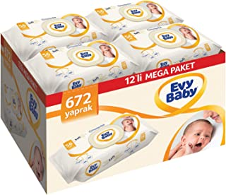 Evy Baby Islak Havlu Soft 12'li Aylık Ekonomik Paket, 672 Yaprak