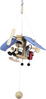 Wupper Airlines Weighted Hanging Mobile Wooden Airplane Blue