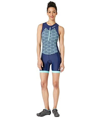 2XU Active Trisuit (Navy/Aqua Splash Line Print) Women
