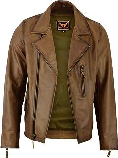 Mens Classic Vintage Genuine Top-Grain Cowhide Bicker Leather Jacket