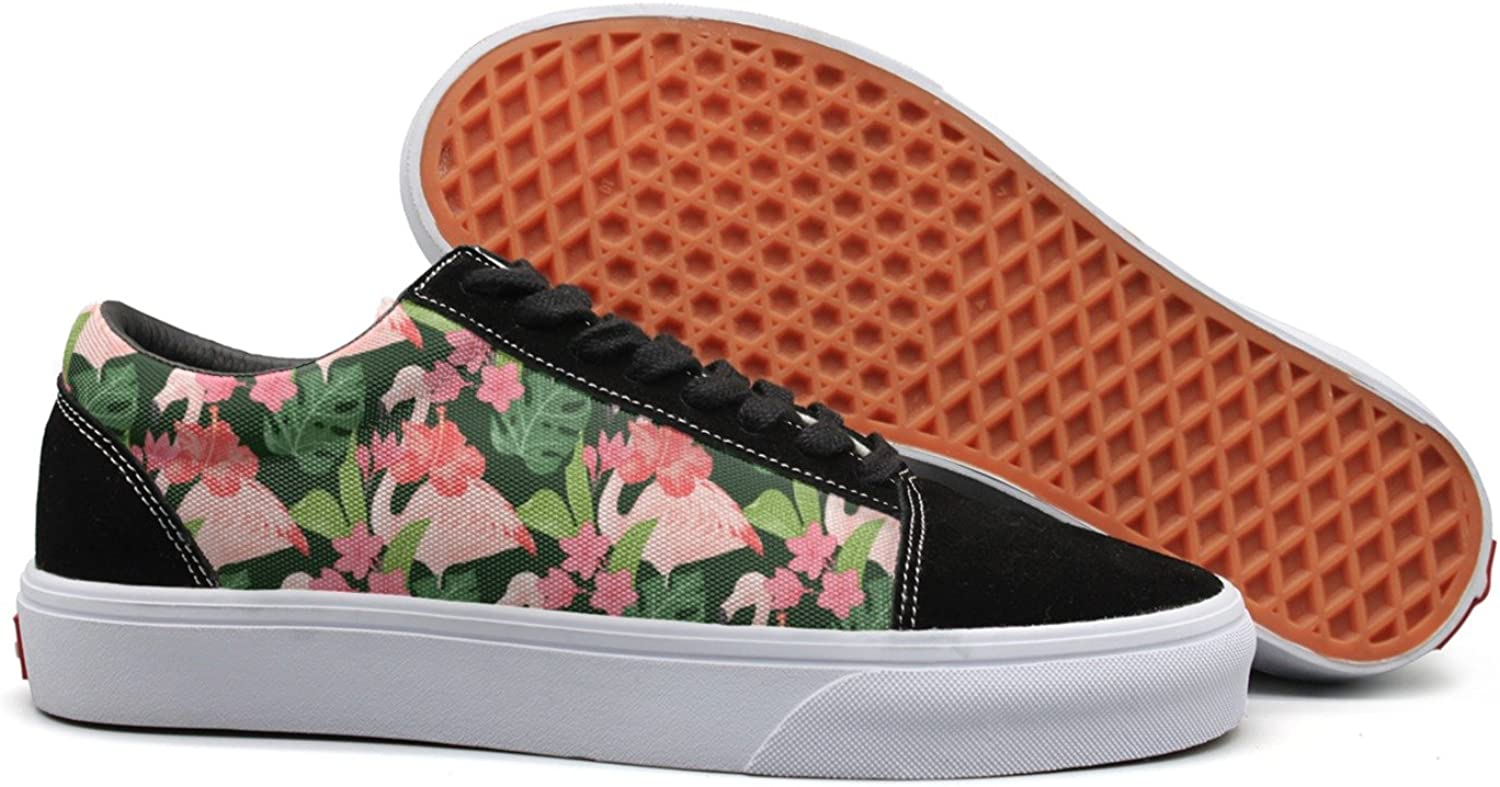 Flamingo Bird and Waterlily Flowers Womens Navy Canvas Sneakers Low Top Best Tennis shoes for Women's