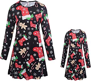 Fashspo Little Girls Ugly Christmas Dress Reindeer Snowflake Snowman Xmas Gifts Winter Knit Sweater Dresses, S12-110