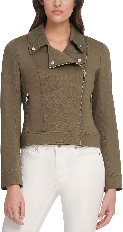 DKNY Womens Ponte Short Motorcycle Jacket