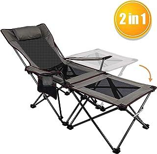 Asteri - Silla plegable y reclinable portátil con soporte para tazas, mesa auxiliar desmontable y bolsa de transporte