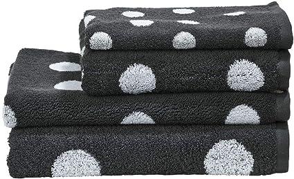 Grau//Weiß Schwarz Handtücher 2er Set mit Punkten 100/% Baumwolle