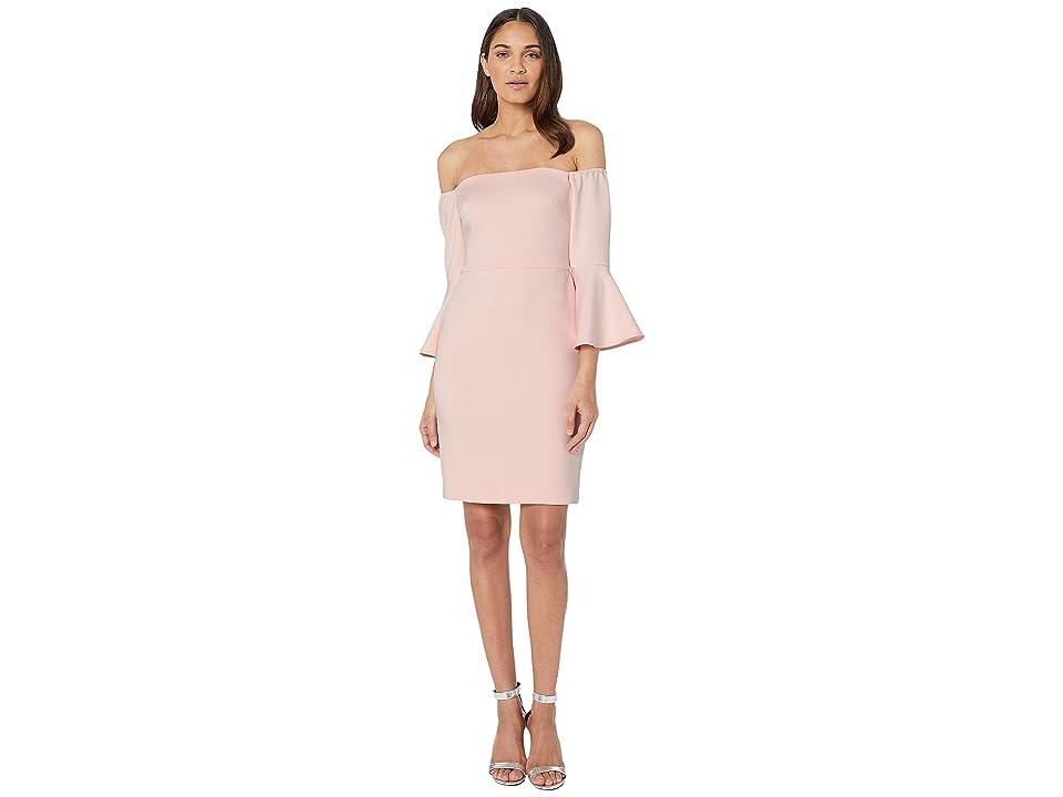 Betsey Johnson Off the Shoulder Bell Sleeve Dress (Blush) Women