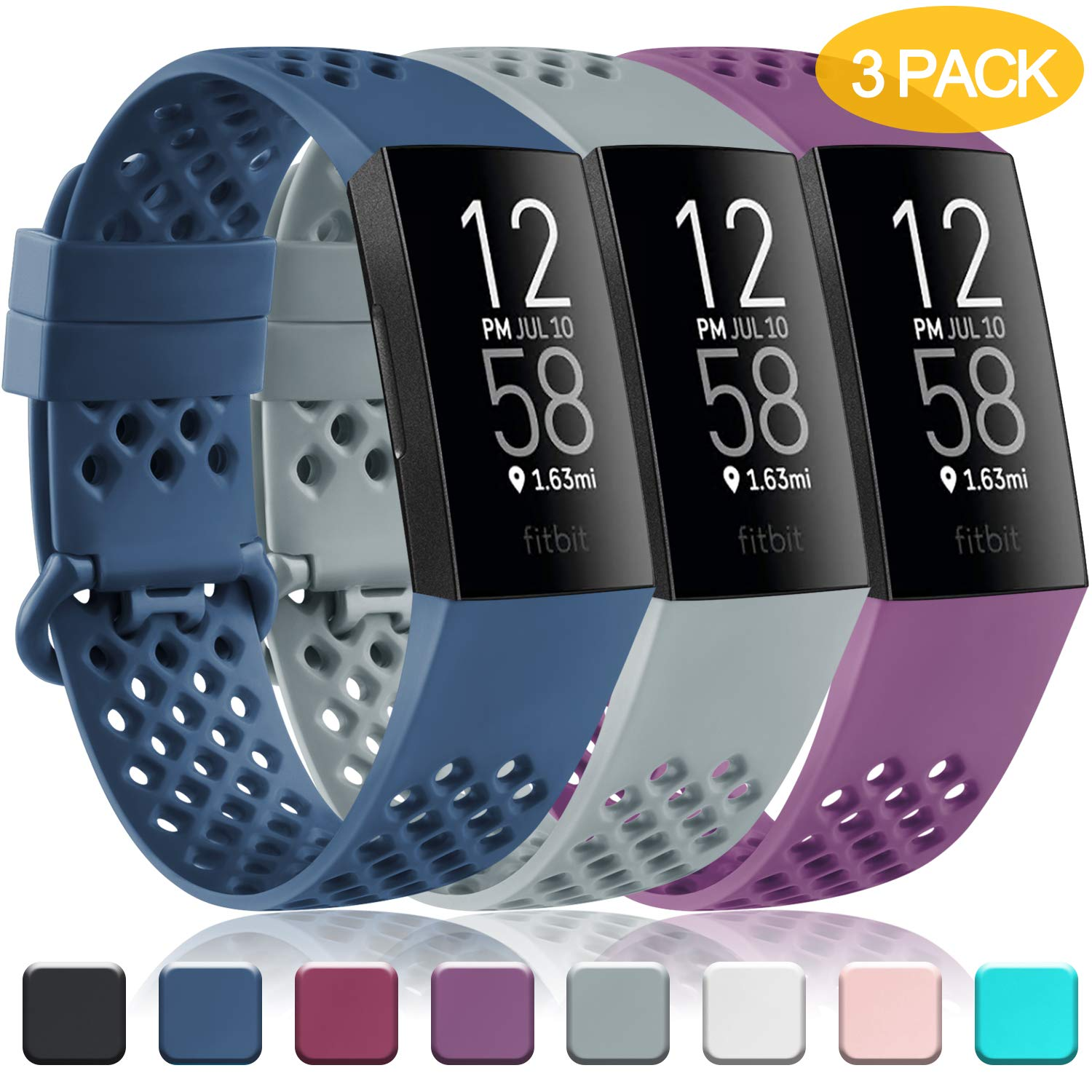 Pack 3 Silicone Bands for Fitbit Charge 4 / Fitbit Charge 3 / Charge 3 SE Breathable Replacement Wristbands for Women…