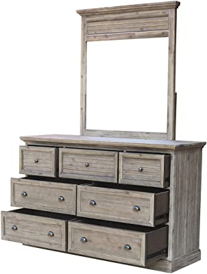 Sunset Trading Solstice Grey Dresser & Mirror, Weathered gray and brown