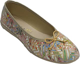 Zapatillas Mujer Tipo Manoletinas con Lazo Pinceladas de Colores Alberola en beig