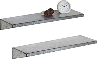 MyGift 24-Inch Galvanized Metal Wall-Mounted Shelves, Set of 2