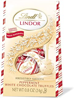 Lindt LINDOR Holiday Peppermint White Chocolate Truffles Mini Gift Bag, Kosher, Great for Holiday Gifting, 0.8 Ounce (Pack of 24)