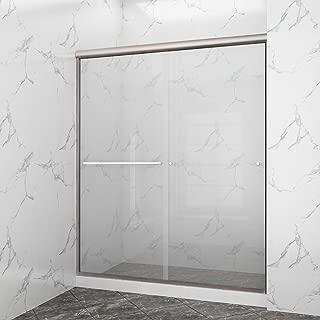 SUNNY SHOWER B020-6072CB Frameless Glass Sliding Shower Door Clear Glass Brushed Nickel Finish 2 Way Sliding, 60