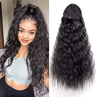 AICILY Synthetic Kinky Straight Ponytail Long Afro Kinkly Curly Hair Bun Extension With Two Plastic Combs Hairpiece Yaki Clip In Hair Extensions(2#)