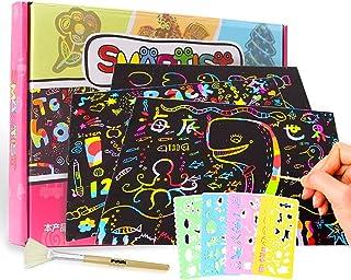 Licogel Scratch Paper Set DIY Funny Decorative Portable Educational Scratch Art Kit Board Note Party Doodle