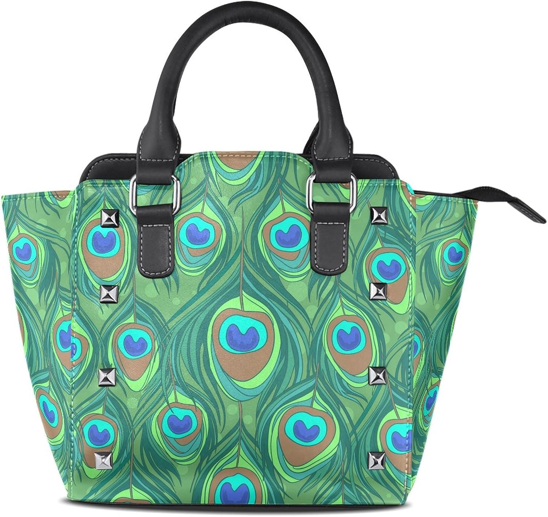 My Little Nest Women's Top Handle Satchel Handbag colorful Peacock Feather Print Ladies PU Leather Shoulder Bag Crossbody Bag