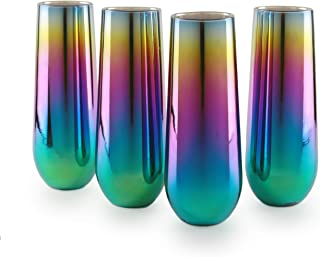 Circleware 76875 Rainbow Champagne Flutes Stemless Wine Glasses, Set of 4 Party Entertainment Dining Beverage Drinking Glassware Cups, 10.5 oz, Fusion