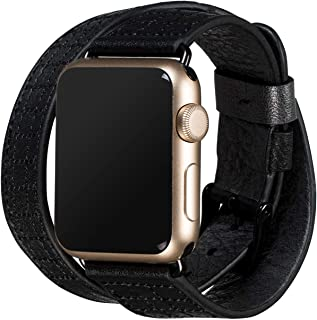 Sena Isa Double Leather Watch Band for Apple Watch Compatible with 38mm/40mm - Modern, Timeless and Dapper, Black
