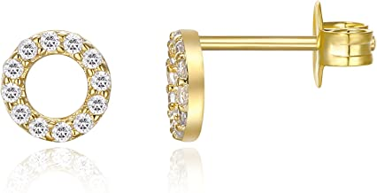 PAVOI 14K Gold Plated CZ Simulated Diamond Earrings Dainty Mini Bar, Halo, Lightning Bolt, Moon Stud Earrings