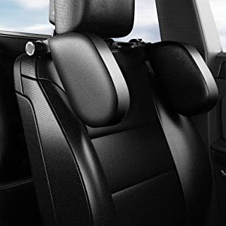 LATIT Car Seat Headrest Pillow Car Travel Headrest Adjustable PU Leather Head Neck Pillow Headrest for Travel Sleep Neck S...