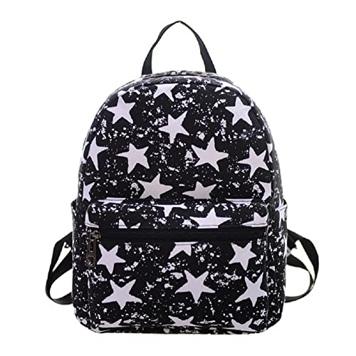 Urmiss Small Flowers Floral Leaf Graffiti Printed Canvas Casual Backpack Travel Shoulder Bag Students Schoolbag Rucksack