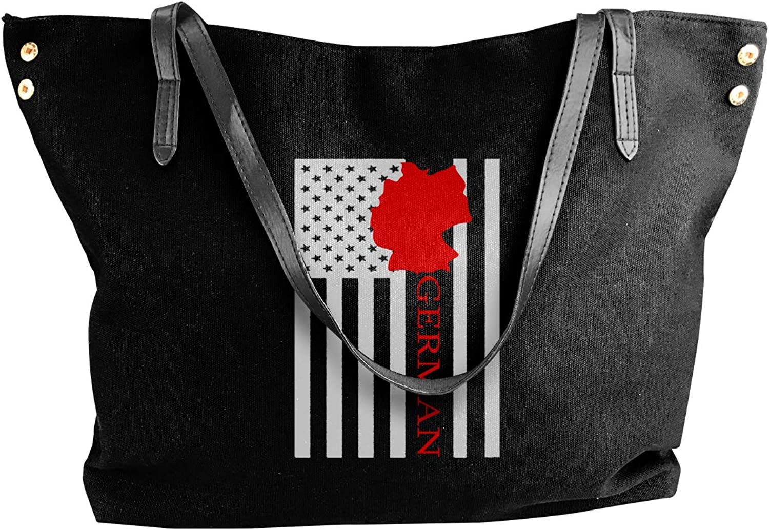 American Flag German Map Women'S Recreation Canvas Shoulder Bag For Shopping Big Shopping Bag