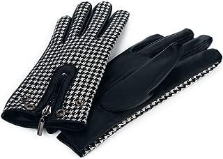 Flammi Women's Driving Gloves Houndstooth Zippered PU Leather Gloves Lightweight