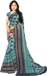 KLM Fashion Mall Women's Fancy Cotton Silk Saree (Green & Blue)