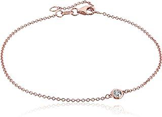 Amazon Collection14K oro solitario Bisel Set Diamantes con mosquetón Strand pulsera (J-K color, claridad I2-I3)