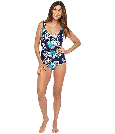 Maxine of Hollywood Swimwear Hula Leaf Shirred Front Girl Leg One-Piece (Navy) Women
