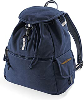 Unbekannt Quadra Vintage Freizeit Rucksack Damen und Herren : Canvas Backback Coole Retro Schultertasche mit Goodman Design  Logo Farbe: navy-blau