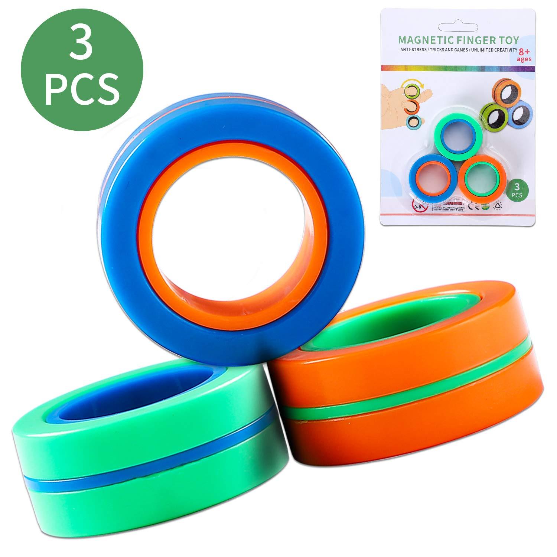 Kala-Kala Finger Magnetic Rings-Sensory Fidget Toy Magnetic Ring Toy Magical Ring Props Tools,3 Colors Finger Game Finger Toy, Hand Spinners Fidget Toy